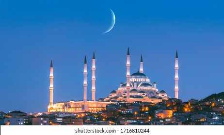 Aerial view of Istanbul and Camlica Mosque. Çamlıca is the most beautiful hill in Istanbul. The biggest building of this hill is the Camlica Mosque at night in Istanbul Turkey