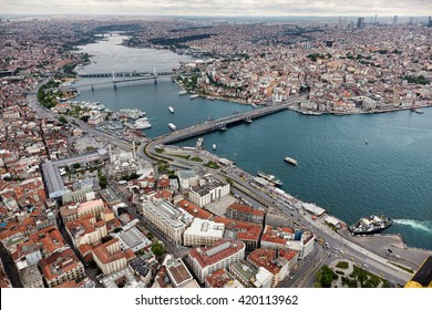 Aerial view of Istanbul. Old city. Golden Horn.