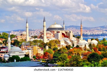 Aerial View of Istanbul's Famous Hagia Sophia and Sultan Ahmet Park on a Late Summer Afternoon - Istanbul, Turkey