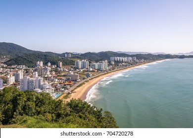 Aerial view of Itajai city and Praia Brava Beach - Balneario Camboriu, Santa Catarina, Brazil