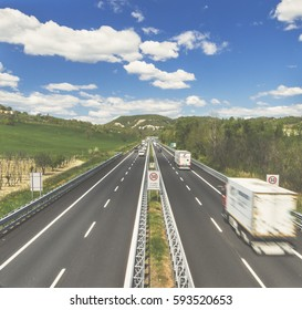 Aerial view of italians motorway in a sunny day. Travel and transportation concepts.