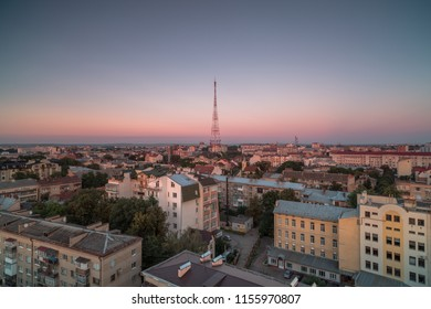 Aerial view in Ivano - Frankivsk city at sunset