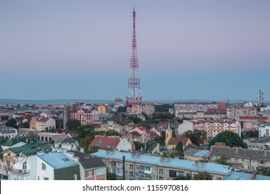 Aerial view in Ivano - frankivsk city tv tower at sunset