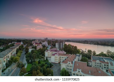 Aerial view in Ivano - frankivsk city, main street and lake at sunset