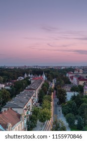 Aerial view in Ivano - frankivsk city ,main street at sunset