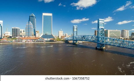 Aerial view of Jacksonville Bridge and skyline, Florida, USA.