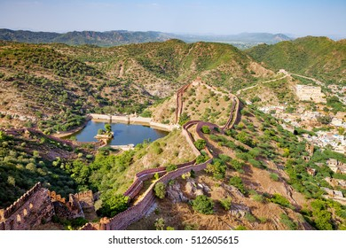aerial view from Jaigarh fort in Jaipur, India