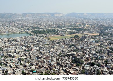 Aerial view of jaipur, pink city of india, rajasthan tourism