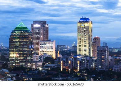 An aerial view of Jakarta skyline around the central business district at night in Indonesia capital city.