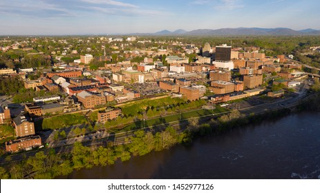 Aerial View of the James River flowing by the hill that holds lynchburg Virginia