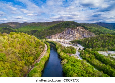 Aerial view of the James River and surrounding mountains in Buchanan, Virginia.