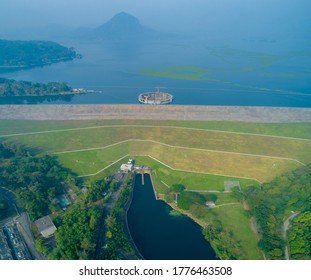 Aerial View of Jatiluhur, the Largest Dam in Indonesia. Multi-Purpose Embankment Dam on The Citarum River with Morning Glory Spillway