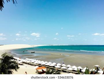 Aerial view of Jericoacoara white beach in Brazil