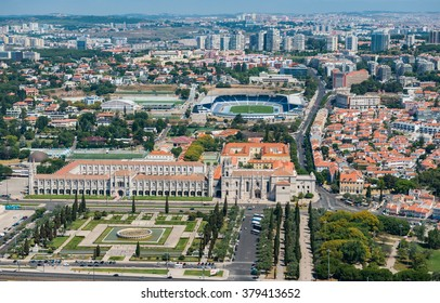 Aerial view of the Jeronimos Monastery and the park, Lisbon, Portugal
