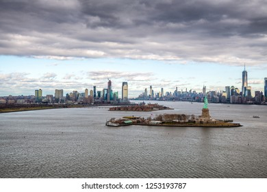 Aerial view of Jersey City and Downtown Manhattan from helicopter.