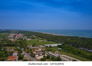 Aerial view Jesolo beach near Venice, Italy. Resort town in the north of Italy. Resorts of the Adriatic Sea.