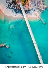 An aerial view of the jetty at the Port of Broome in Roebuck Bay, Australia.