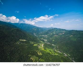 Aerial View of Jianshi, Hsinchu - Nature landscape birds eye view use the drone in morning, shot in Jianshi Township, Hsinchu, Taiwan.