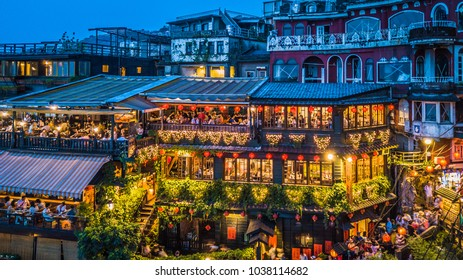 Aerial view of Jiufen Old Street, night scene of Jiufen village in Taipei, Taiwan.