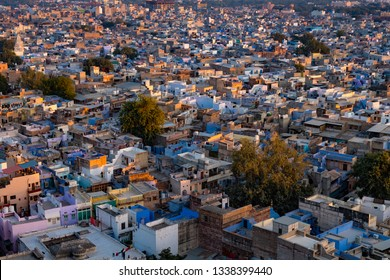 Aerial view of Jodhpur, the Blue City, Rajasthan, India at sunset.