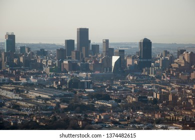 Aerial view of Johannesburg central business district and railway station