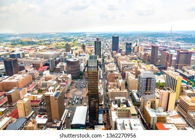 Aerial view of Johannesburg Skyline, South Africa.