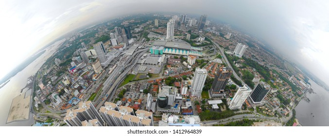 Aerial view of JOhor Bahru city, southern states of Malaysia.