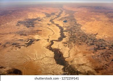 Aerial view of the Jordan River at the Jordan West Bank border
