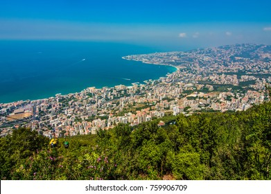 Aerial View of Jouneih, Lebanon Coastline as Seen from Harissa Above on a sunny summer day