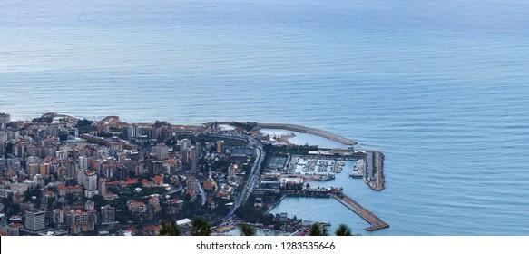 aerial view of Jounieh city , Lebanon