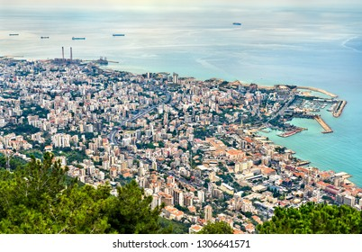 Aerial view of Jounieh from Harissa. Lebanon, the Middle East