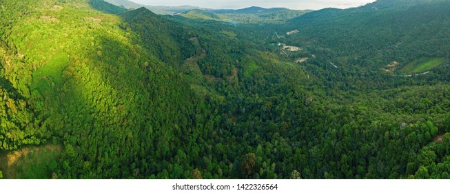 Aerial view of jungle mountains at Ko Samui island, Thailand