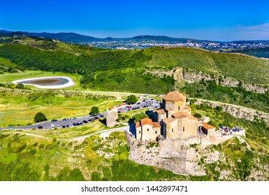 Aerial view of Jvari Monastery near Mtskheta. UNESCO world heritage in Georgia