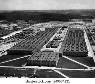 Aerial view of the K25 Plant at the Oak Ridge site of the Manhattan Project. This massive building housed the compressors and converters. 1947 photo by Ed Westcott.