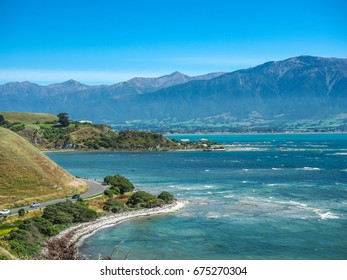 Aerial view of Kaikoura coastline, New Zealand.