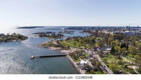 Aerial view of kaivopuisto, in the city of Helsinki, on a sunny summer day, in Helsingfors, Uusimaa, Finland