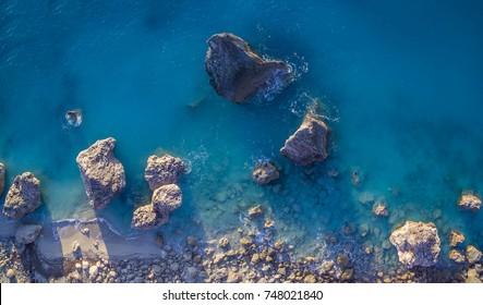 Aerial view of Kalamitsi beach, Ionian Sea, Lefkada island, Greece.