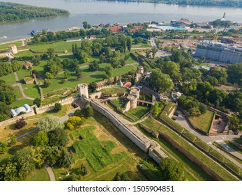 Aerial view to Kalemegdan fortress at Belgrade. Summer photo from drone. Serbia
