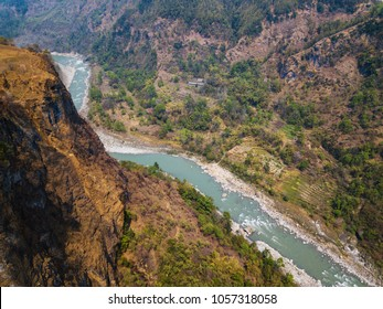 Aerial view of the Kali Gandaki river and its deep gorge near Kusma in Nepal