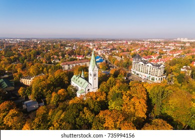 Aerial view of the Kaliningrad Puppet Theatre, the building was originally the Queen Louise Memorial Church in Kenigsberg, autumn time