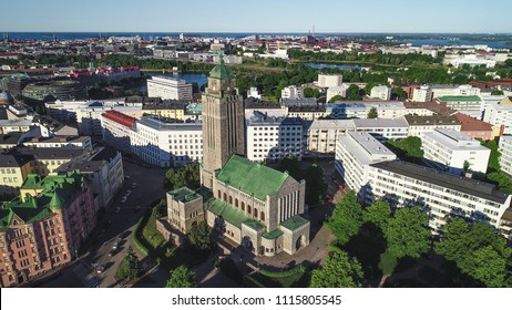 Aerial view Kallio cathedral, in the city of Helsinki, on a sunny summer evening dusk, in Helsingfors, Uusimaa, Finland
