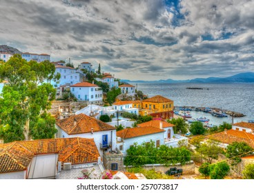 aerial view of Kamini village  at Hydra island in Greece. HDR