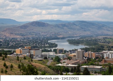 Aerial view of Kamloops City during a cloudy summer day. Located in Interior BC, Canada.