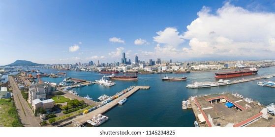 Aerial view of kaohsiung city and harbor. Taiwan.