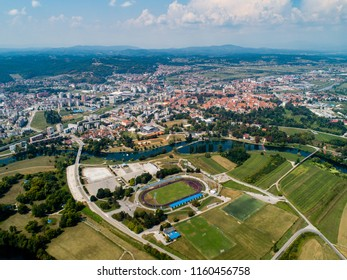 Aerial view of Karlovac city, soccer stadium and river Korana