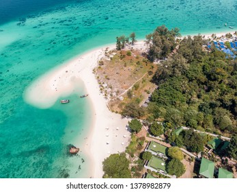Aerial view of Karma white beach in emerald tropical sea at lipe island