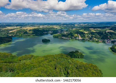 Aerial view of Kashubian Landscape Park. Kaszuby. Poland. Photo made by drone from above. Bird eye view.