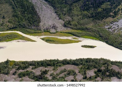 Aerial view of the Kaskawulsh River in Kluane National Park, Yukon, Canada