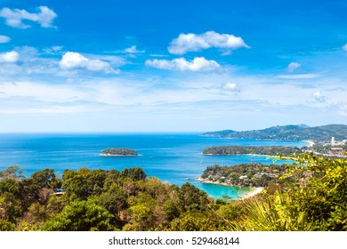 Aerial view of Kata, Karon, Patong View Point, Phuket , South of Thailand