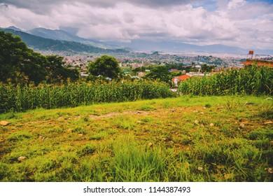 Aerial view of Kathmandu City Capital of Nepal,Bird Eye View Kathmandu City with himalayas mountains at the background,Top View of Kathmandu City.